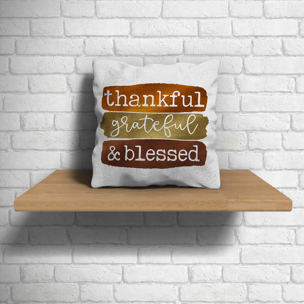 Blessed Pillow Cover Thanksgiving Throw Pillow Case Fall Brush Strokes Thankful Grateful Blessed Boho Cute Fall 15.75