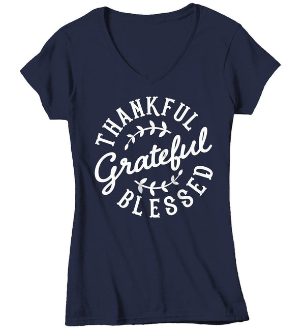 Women's Thankful Grateful Blessed T Shirt Thanksgiving Shirts Vintage Thanksgiving Shirt Thankful Shirts Blessed Shirt-Shirts By Sarah