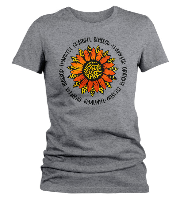 Women's Grateful T Shirt Thanksgiving Shirt Fall Sunflower Shirt Thankful Grateful Blessed Boho Cute Fall Season Tee-Shirts By Sarah