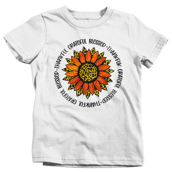 Kids Grateful T Shirt Thanksgiving Shirt Fall Sunflower Shirt Thankful Grateful Blessed Boho Cute Fall Season Tee-Shirts By Sarah