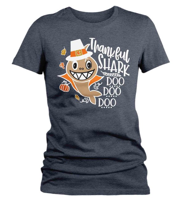 Women's Funny Thanksgiving T Shirt Thankful Shark Shirt Shark T Shirt Thanksgiving Shirts Turkey Shark Doo Doo-Shirts By Sarah