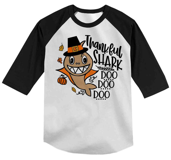 Funny Toddler Thanksgiving T Shirt Thankful Shark Shirt Shark T Shirt Thanksgiving Shirts Turkey Shark Doo Doo Raglan-Shirts By Sarah
