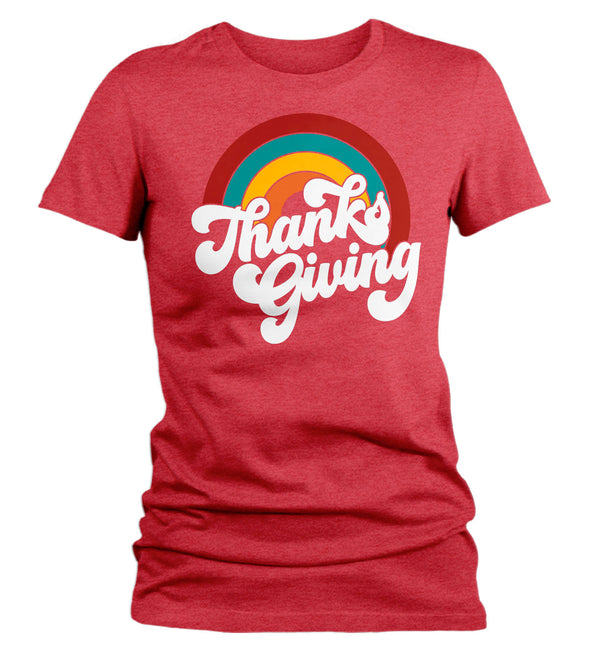 Women's Retro Thanksgiving T Shirt Rainbow Shirt Vintage Turkey Day Tee Retro Tshirt Vintage Thanksgiving T-Shirt Thanks Giving-Shirts By Sarah