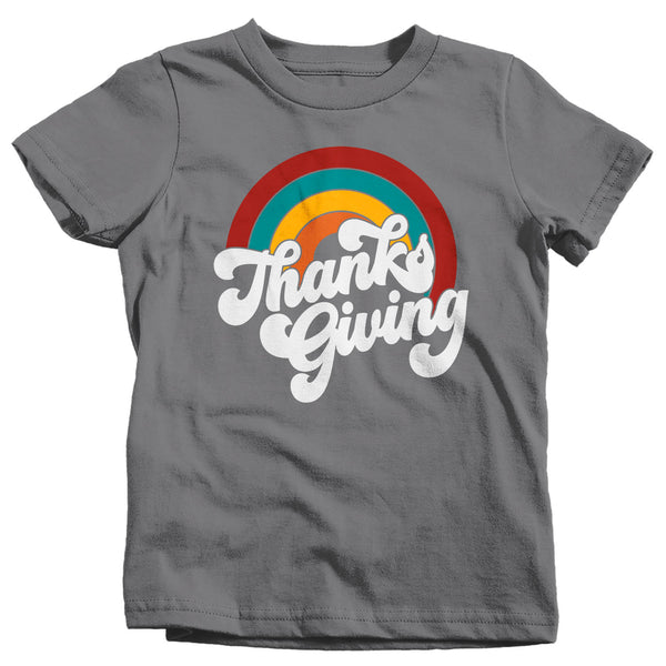 Kids Retro Thanksgiving T Shirt Rainbow Shirt Vintage Turkey Day Tee Retro Tshirt Vintage Thanksgiving T-Shirt Thanks Giving-Shirts By Sarah