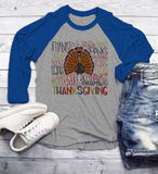 Men's Cute Thanksgiving T Shirt Typography Graphic Tee Happy Thanksgiving Thanks Thankful Shirts 3/4 Sleeve Raglan-Shirts By Sarah