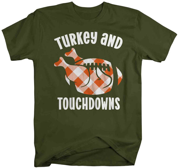 Men's Thanksgiving T Shirt Turkey & Touchdowns Shirt Turkey Shirts Buffalo Plaid Football T Shirt Thanksgiving Shirts Funny Tee-Shirts By Sarah