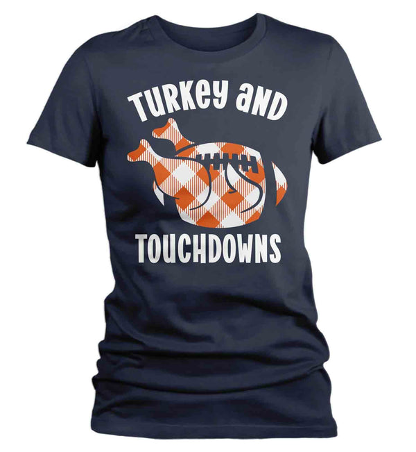 Women's Thanksgiving T Shirt Turkey & Touchdowns Shirt Turkey Shirts Buffalo Plaid Football T Shirt Thanksgiving Shirts Funny Tee-Shirts By Sarah