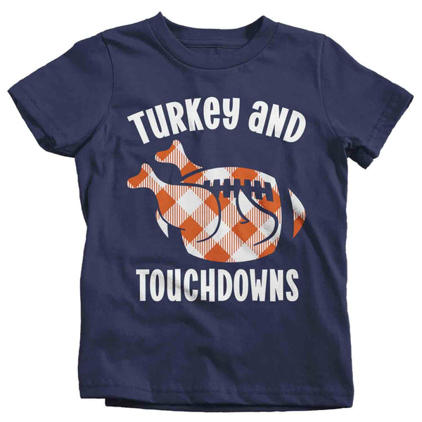 Kids Thanksgiving T Shirt Turkey & Touchdowns Shirt Turkey Shirts Buffalo Plaid Football T Shirt Thanksgiving Shirts Funny Tee-Shirts By Sarah