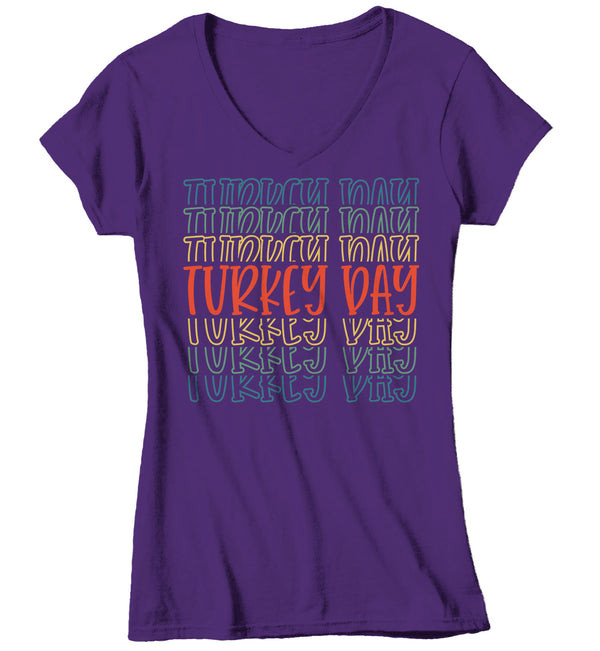 Women's V-Neck Cute Thanksgiving T Shirt Turkey Day Shirt Fun Stacked Font Mirror Text Retro Tshirt Vintage Thanksgiving T-Shirt-Shirts By Sarah