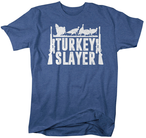 Men's Funny Hunter T Shirt Thanksgiving Shirt Turkey Slayer Shirt Turkey Hunting Tshirt Thanksgiving T-Shirt-Shirts By Sarah