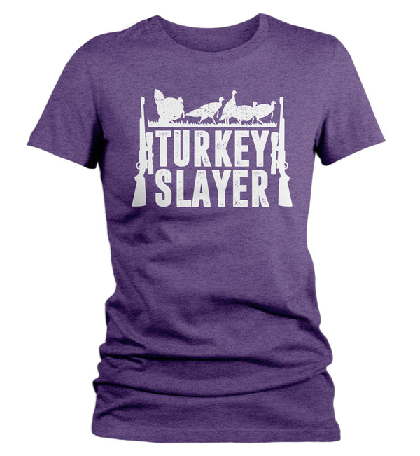 Women's Funny Hunter T Shirt Thanksgiving Shirt Turkey Slayer Shirt Turkey Hunting Tshirt Thanksgiving T-Shirt-Shirts By Sarah