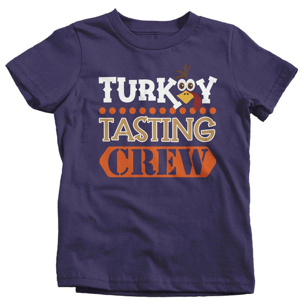 Kids Funny Thanksgiving T Shirt Turkey Tasting Crew Shirt Turkey Shirts Thanksgiving Shirts Matching Tees-Shirts By Sarah