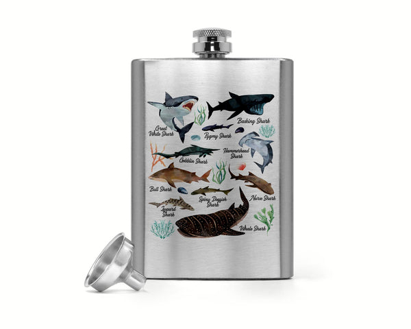 8 Oz. Shark Hip Flask Watercolor Shark Stainless Steel Types Of Sharks Silver Flask Illustrated Shark Gift Idea-Shirts By Sarah