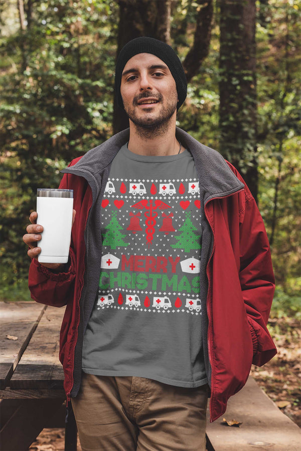 Men's Nurse Christmas T Shirt Ugly Christmas Shirts Nurse Shirt Nurses Ugly Christmas Sweater Shirt-Shirts By Sarah
