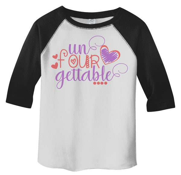Shirts By Sarah Toddler Girl's 4th Birthday Shirt Adorable Unfourgettable Tee-Shirts By Sarah