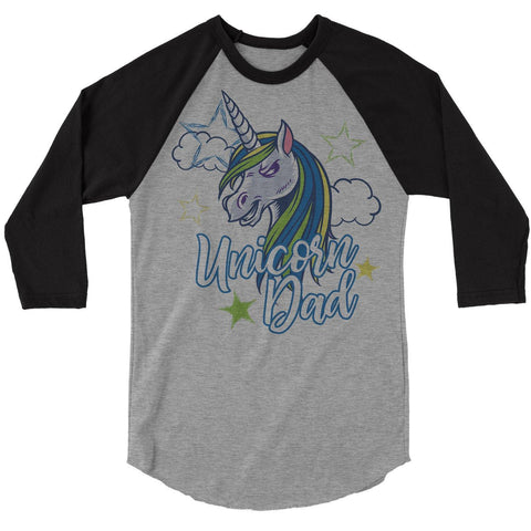 Men's Unicorn Dad T-Shirt Unicorn Dad Shirts Graphic Raglan 3/4 Sleeve Cute Daddy Me Tee Unicorns Tshirt-Shirts By Sarah