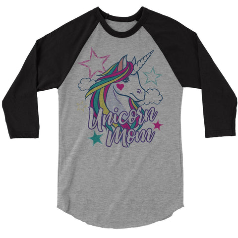 Women's Unicorn Mom T-Shirt Unicorn Mom Shirts Raglan 3/4 Sleeve Graphic Cute Mommy Me Tee Unicorns Tshirt-Shirts By Sarah