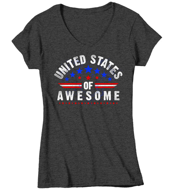 Women's V-Neck Patriotic T Shirt United States Of Awesome Shirt 4th July Shirt Independence Day T Shirt Awesome USA-Shirts By Sarah