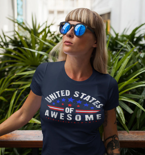 Women's Patriotic T Shirt United States Of Awesome Shirt 4th July Shirt Independence Day T Shirt Awesome USA-Shirts By Sarah