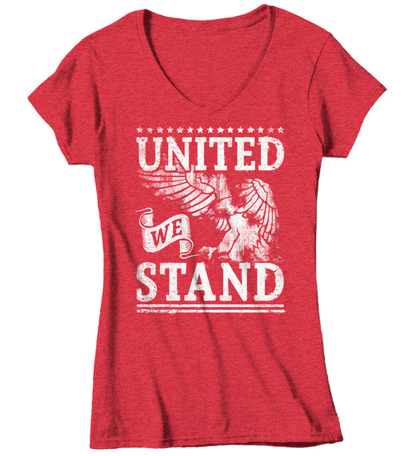 Women's V-Neck United We Stand T Shirt Eagle Shirt USA Patriotic TShirt 4th July Tee Ladies Woman 4th July Gift Idea-Shirts By Sarah