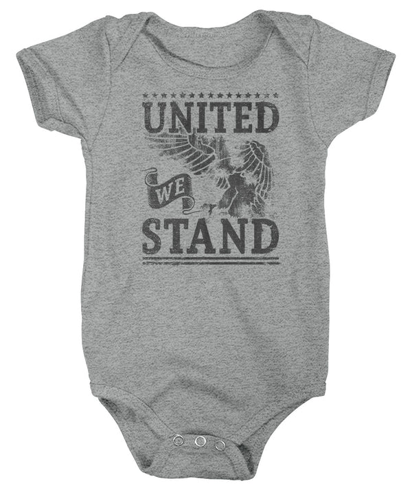 Baby United We Stand Creeper Eagle Shirt USA Patriotic Snap Suit Stars Stripes Bodysuit Boys Girls 4th July Gift Idea-Shirts By Sarah