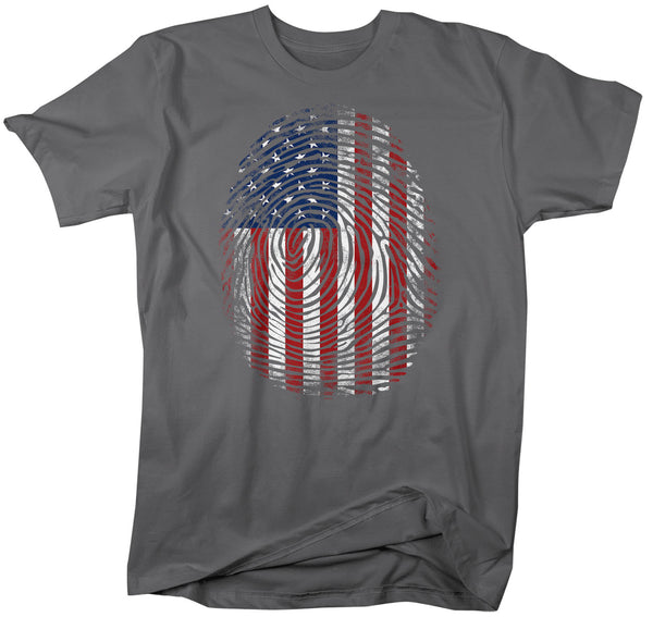 Men's Flag T Shirt Fingerprint Shirt USA Patriotic TShirt In My DNA Fingerprint Flag Tee Unisex Men Patriot Gift Idea-Shirts By Sarah