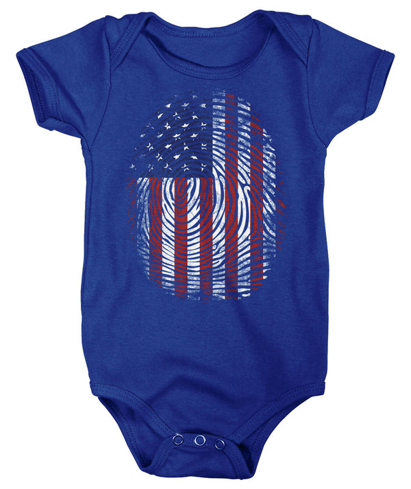 Baby Flag Snap Suit Fingerprint Creeper USA Patriotic Snapsuit In My DNA Fingerprint Flag Infant Patriot Gift Idea-Shirts By Sarah