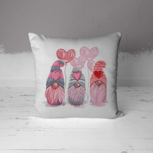 Valentine's Day Gnomes Pillow Cover Cute Heart Gnome Valentine Throw Pillow Boho Cute Season Gnome Square Pillow-Shirts By Sarah