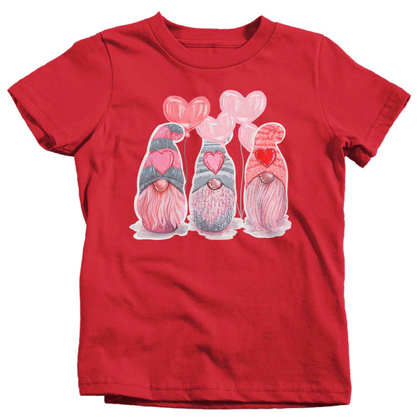 Kids Valentines Gnome Shirt Cute Valentine's Day T Shirt Adorable Gnomies Tee Heart Love Tee Boy's Girl's Tshirt-Shirts By Sarah