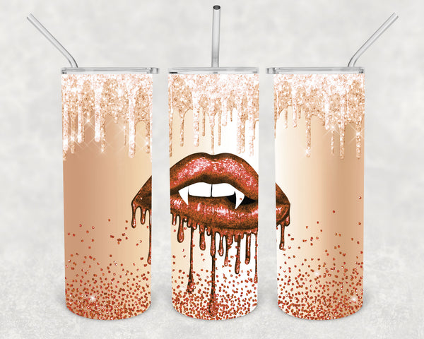 20 Oz. Valentine's Day Lips Tumbler Water Bottle With Stainless Steel Skinny Vampire Fang Travel Mug Cold Hot Drinks-Shirts By Sarah