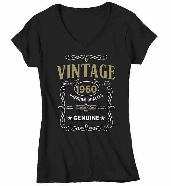 Women's V-Neck Vintage 1960 60th Birthday T-Shirt Classic Sixty Shirt Gift Idea 60th Birthday Shirts Vintage Tee Vintage Shirt-Shirts By Sarah