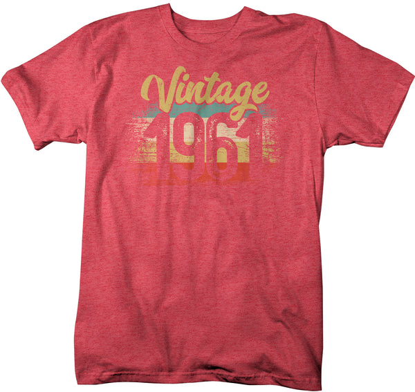 Men's Vintage 1961 Birthday T Shirt 60th Birthday Shirt Sixty Years Gift Grunge Bday Gift Men's Unisex Soft Tee Sixtieth Bday-Shirts By Sarah