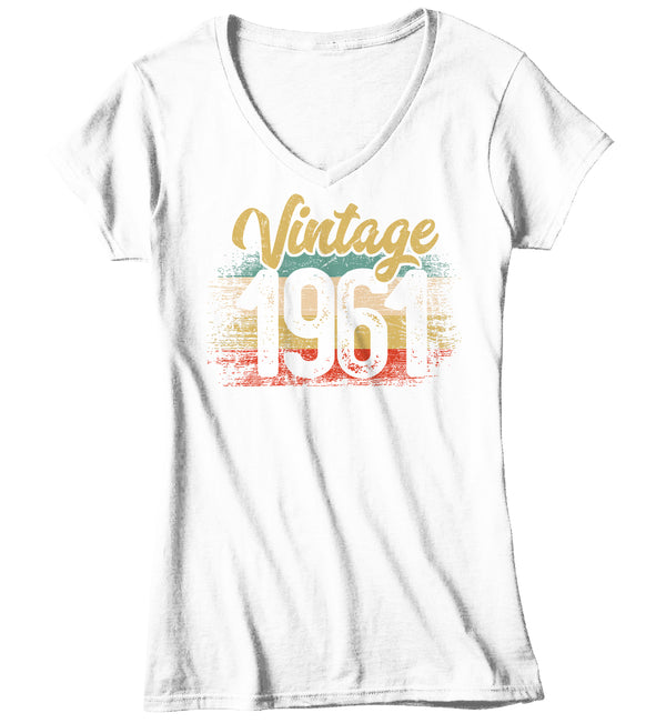 Women's V-Neck Vintage 1961 Birthday T Shirt 60th Birthday Shirt Sixty Years Gift Grunge Bday Gift Ladies V-Neck Woman Soft Tee Sixtieth-Shirts By Sarah