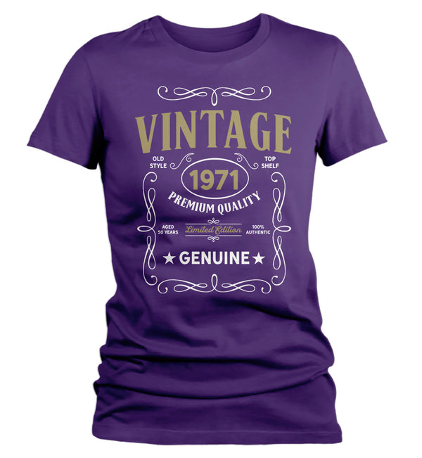 Women's Vintage 1971 50th Birthday T-Shirt Classic Fifty Shirt Gift Idea 50th Birthday Shirts Vintage Tee Vintage Shirt Ladies-Shirts By Sarah