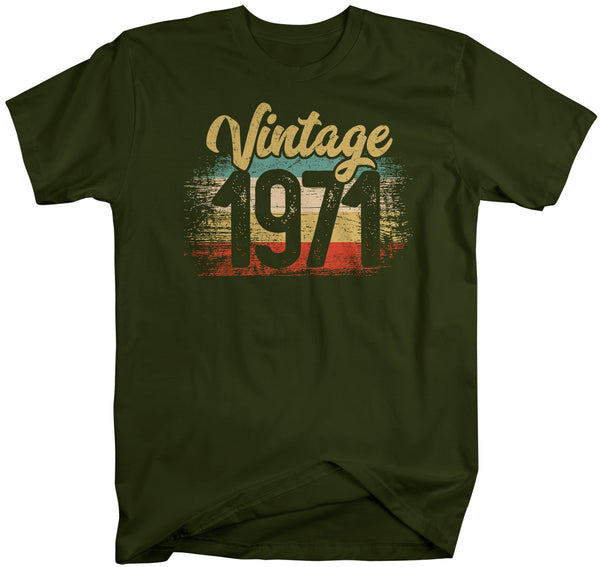 Men's Vintage 1971 Birthday T Shirt 50th Birthday Shirt Fifty Years Gift Grunge Bday Gift Men's Unisex Soft Tee-Shirts By Sarah
