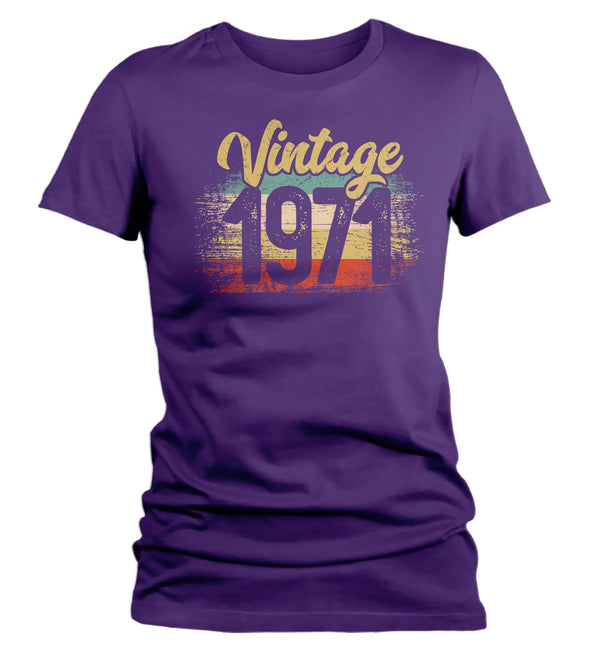 Women's Vintage 1971 Birthday T Shirt 50th Birthday Shirt Fifty Years Gift Grunge Bday Gift Ladies V-Neck Woman-Shirts By Sarah