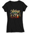 Women's V-Neck Vintage 1971 Birthday T Shirt 50th Birthday Shirt Fifty Years Gift Grunge Bday Gift Ladies V-Neck Woman