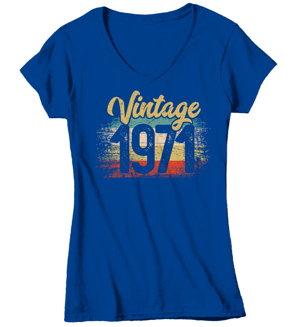 Women's V-Neck Vintage 1971 Birthday T Shirt 50th Birthday Shirt Fifty Years Gift Grunge Bday Gift Ladies V-Neck Woman-Shirts By Sarah