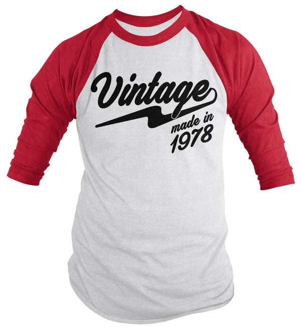 Shirts By Sarah Men's Vintage Made In 1978 40th Birthday Raglan Retro 3/4 Sleeve Shirts-Shirts By Sarah