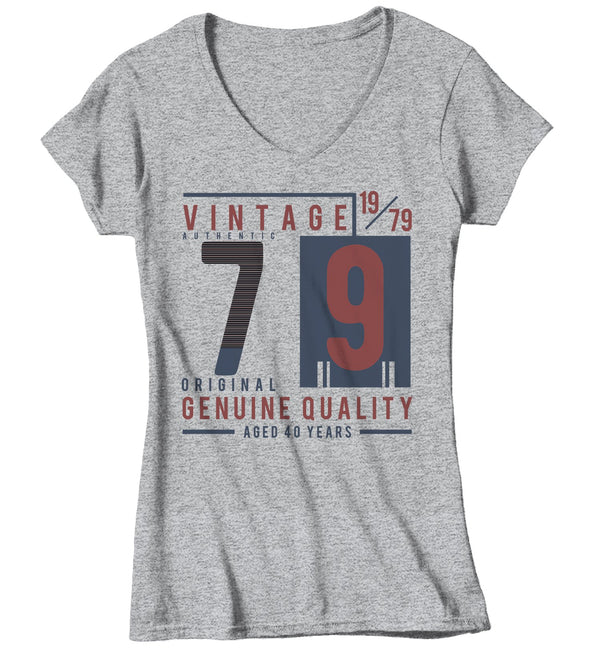 Women's Vintage 1979 T Shirt 1979 Birthday Shirt 40th Birthday Tee Aged 40 Years Genuine Authentic Retro Gift Idea Vintage Tee-Shirts By Sarah