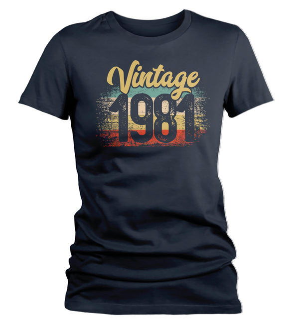 Women's Vintage 1981 Birthday T Shirt 40th Birthday Shirt Forty Years Gift Grunge Bday Gift Ladies V-Neck Soft Tee Fortieth Bday-Shirts By Sarah