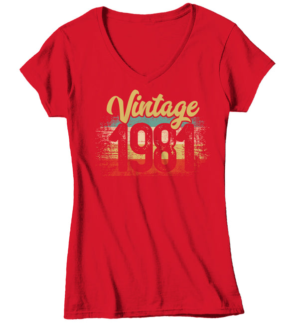 Women's V-Neck Vintage 1981 Birthday T Shirt 40th Birthday Shirt Forty Years Gift Grunge Bday Gift Ladies V-Neck Soft Tee Fortieth Bday-Shirts By Sarah