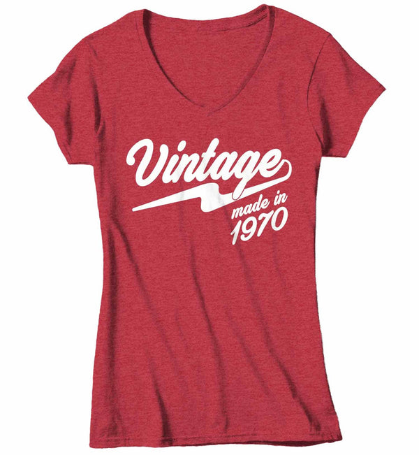 Women's V-Neck Vintage T Shirt 1970 Birthday Made In Shirt 50th Birthday Tee Retro Gift Idea Vintage Tee-Shirts By Sarah