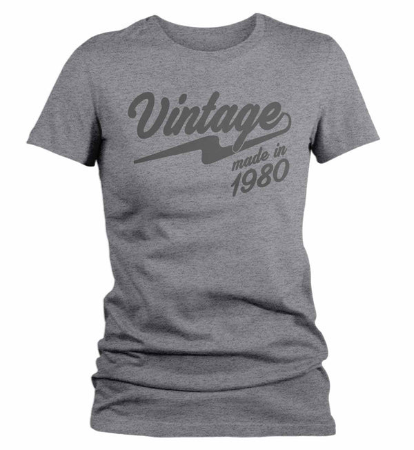 Women's Vintage T Shirt 1980 Birthday Made In Shirt 40th Birthday Tee Retro Gift Idea Vintage Tee-Shirts By Sarah