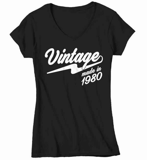 Women's V-Neck Vintage T Shirt 1980 Birthday Made In Shirt 40th Birthday Tee Retro Gift Idea Vintage Tee-Shirts By Sarah