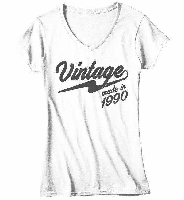 Women's V-Neck Vintage T Shirt 1990 Birthday Made In Shirt 30th Birthday Tee Retro Gift Idea Vintage Tee-Shirts By Sarah