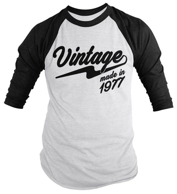 Shirts By Sarah Men's Vintage Made In 1977 40th Birthday Raglan Retro 3/4 Sleeve Shirts-Shirts By Sarah
