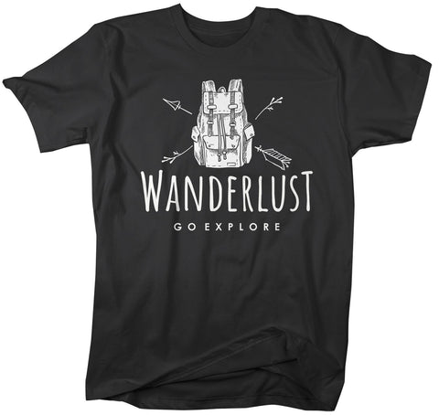 Men's Hipster Wanderlust Shirt Hiking T-Shirt Backpack Go Explore Vintage Wanderlust T Shirt-Shirts By Sarah