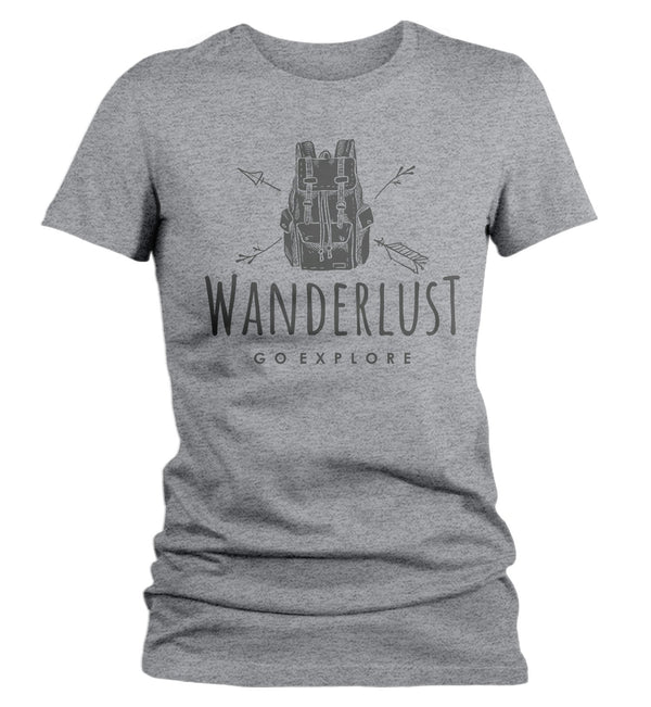 Women's Hipster Wanderlust Shirt Hiking T-Shirt Backpack Go Explore Vintage Wanderlust T Shirt-Shirts By Sarah