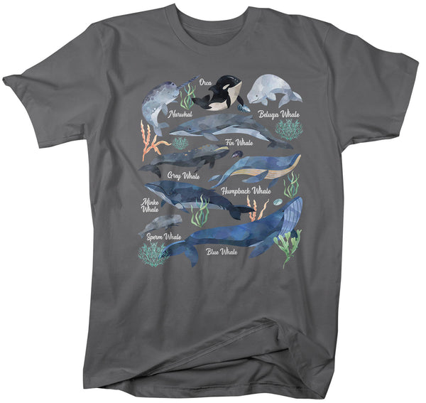 Men's Whale T Shirt Watercolor Whale Shirts Types Of Whales Shirt Illustrated T Shirt Whale Gift Idea-Shirts By Sarah